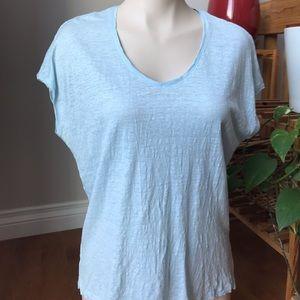 🎁 2/20$  Pale blue linen t-shirt Ann Taylor Loft